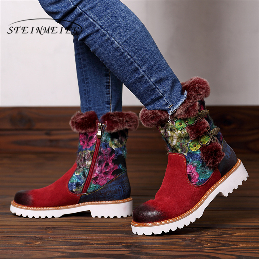 Women winter snow Boots Genuine cow Leather Ankle Comfortable quality soft Shoes Brand Designer Handmade red 2019 with furWomen winter snow Boots Genuine cow Leather Ankle Comfortable quality soft Shoes Brand Designer Handmade red 2019 with fur