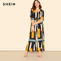 SHEIN Geometric Multicolor Tab Sleeve Belted Geo Shirt Jumpsuit Plus Size Longline Jumpsuit Women High Street Jumpsuits