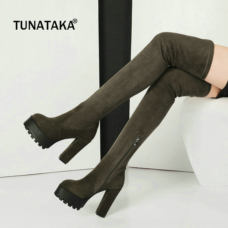 Suede Winter Sqaure High Heel Side Zipper Woman Over The Knee Boots Fashion Platform Party Thigh Boots Black Green women fashion boots chunky high heel over the knee boots side zipper platform thigh boots black white