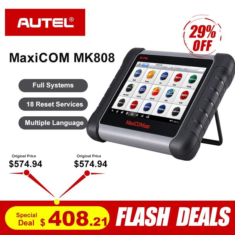 MaxiCOM MK808 OBD2 Scanner Profissional Autel Leitor de Código de Ferramenta de Verificação de Diagnóstico OBD 2 ODB2 Codificação Chave Imobilizador MX808 MD802