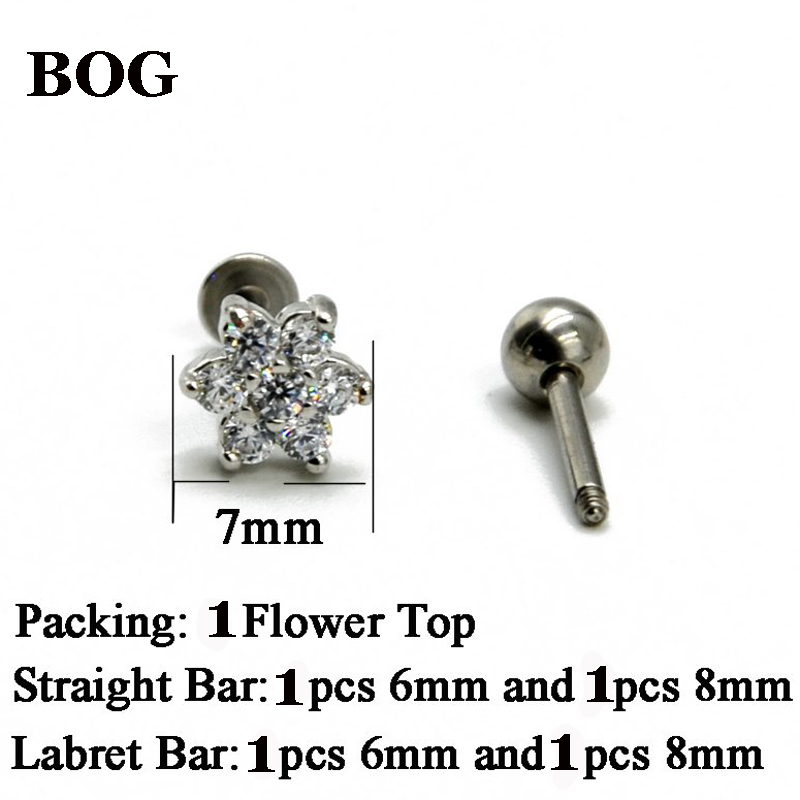 1PCS Steel Prong Set Crystal Zircon Flower Ear Cartilage Tragus Helix Earring Piercing Labret Stud Lip Ring Charming Jewelry 16g