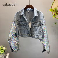 Cakucool New Heavy Sequins Denim Coats Women Shimmer Bling Jeans Jacket Crop Top Long Sleeve Punk Chic Jaqueta Casaco Feminino