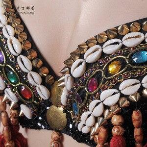 Image 4 - Vermelho tribal fusão trajes de dança do ventre conjunto de 3 peças sutiã, cinto e haren calças gypsy traje calças de dança do ventre trajes