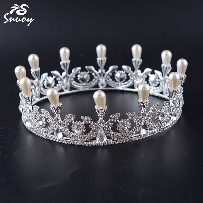 Snuoy European Vintage Tiaras Full Round Pearl Quinceanera Crystal Rhinestone Crowns Pageant Wedding Hair Accessories For Brides