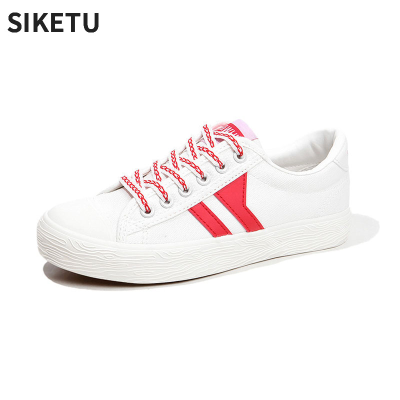 2018 Summer New Women Canvas Shoes Patchwork Lace-up Sneaker Female Fashion White Shoes Comfort tenis feminino