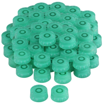 Yibuy Right Hand Green Speed Knob for Electric Guitar White Number Set of 80