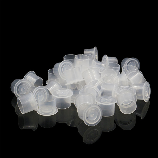 500/1000 PCS Disposable Microblading Steady Plastic Tattoo Ink Cups 4 sizes Permanent Makeup Pigment Clear Holder Container Cap 2