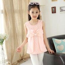 New Summer Lace Sleeveless Girls T-shirt Long Children's Kids Clothing Flowers Bow White Yellow Pink