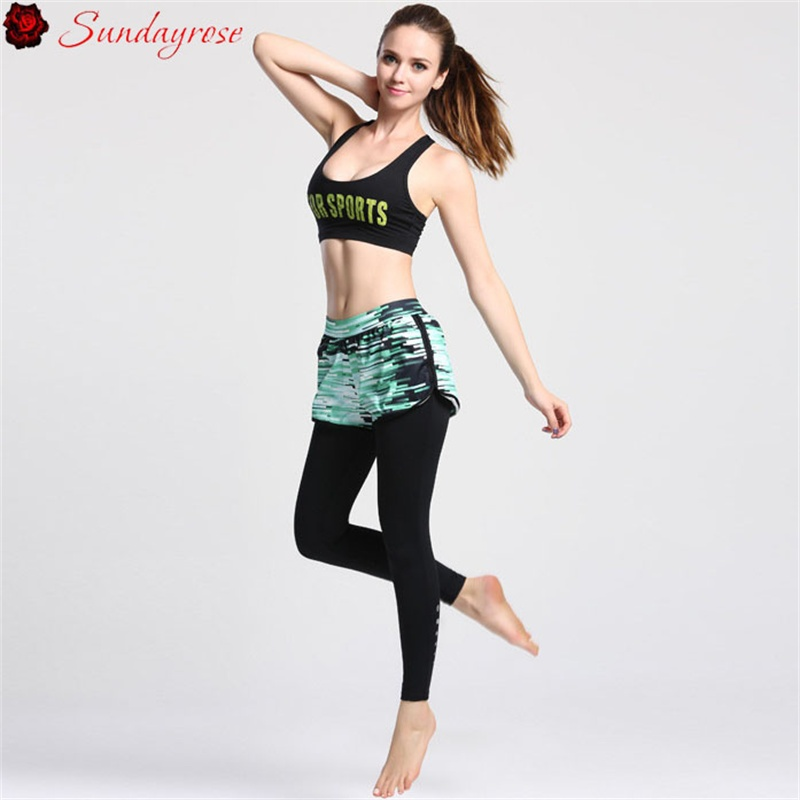 ФОТО 2 Pieces Elastic Yoga Sets Women's Bras + Fake Two Pieces Leggings Yoga Fitness Sets Training Running Suits Skinny Tracksuits
