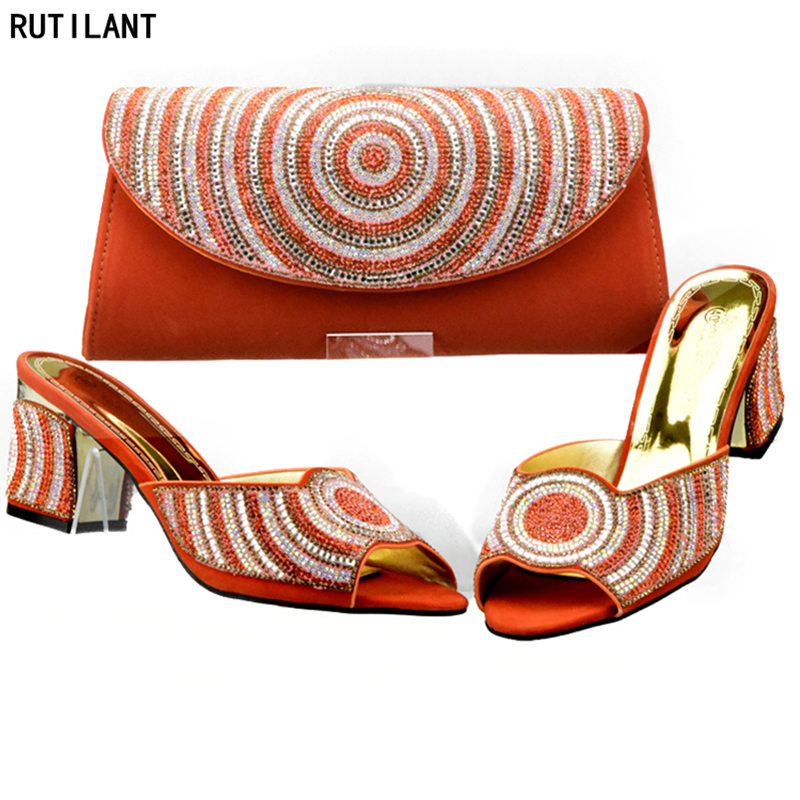 d36bf952 naranja La Zapatos Para Bolsos Juego Con Boda Decorado Bolsa rojo A Partido azul  Conjunto Negro Zapato Rhinestone Y Tinto Italianos ...