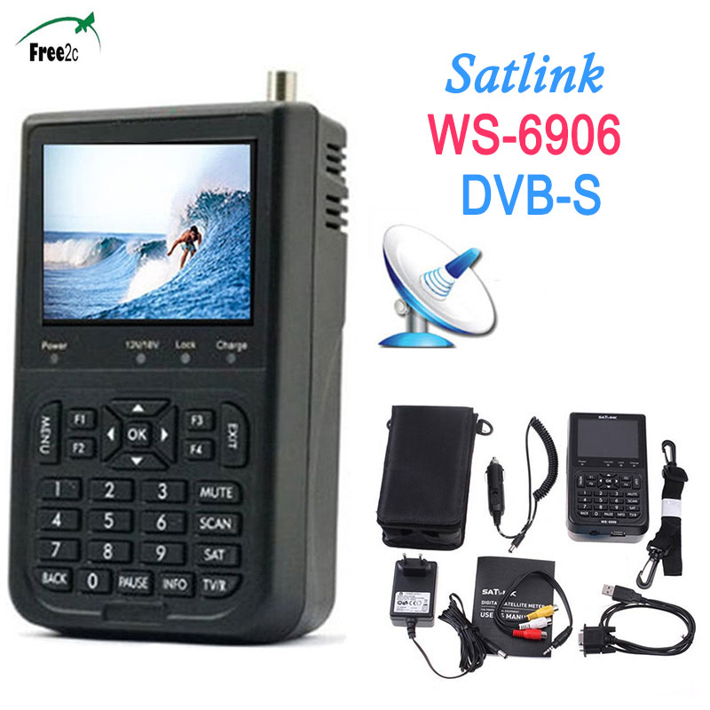 SATXTREM 2017Smart Satlink WS-6906 3.5 inch LCD DVB-S FTA digital satellite meter finder built in 3000mAh battery Salink WS-6906 1pc original satlink ws 6933 ws6933 dvb s2 fta c ku band digital satellite finder meter free shipping