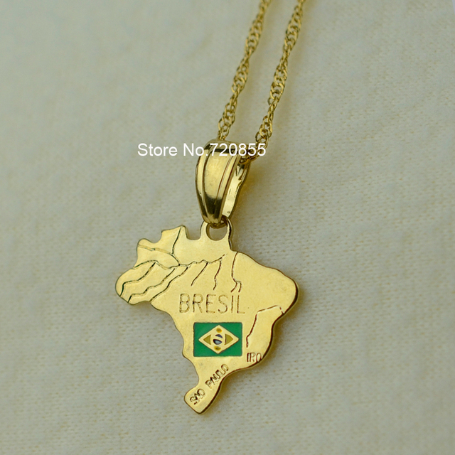 The Federative Republic Of Brazil Map National Flag Pendant - Federative republic of brazil map