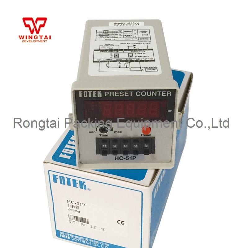 Fotek HS-51P Digital Preset Counter Meter Setting Range 1~99999 5 digits taiwan fotek hc series digital counter hc 51p