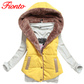 FIONTO M-XXL Autumn Waist Coat Slim Women Winter Velvet Vest Sleeveless Jackets Thermal Cotton Hood Vest Female Plus Size A157