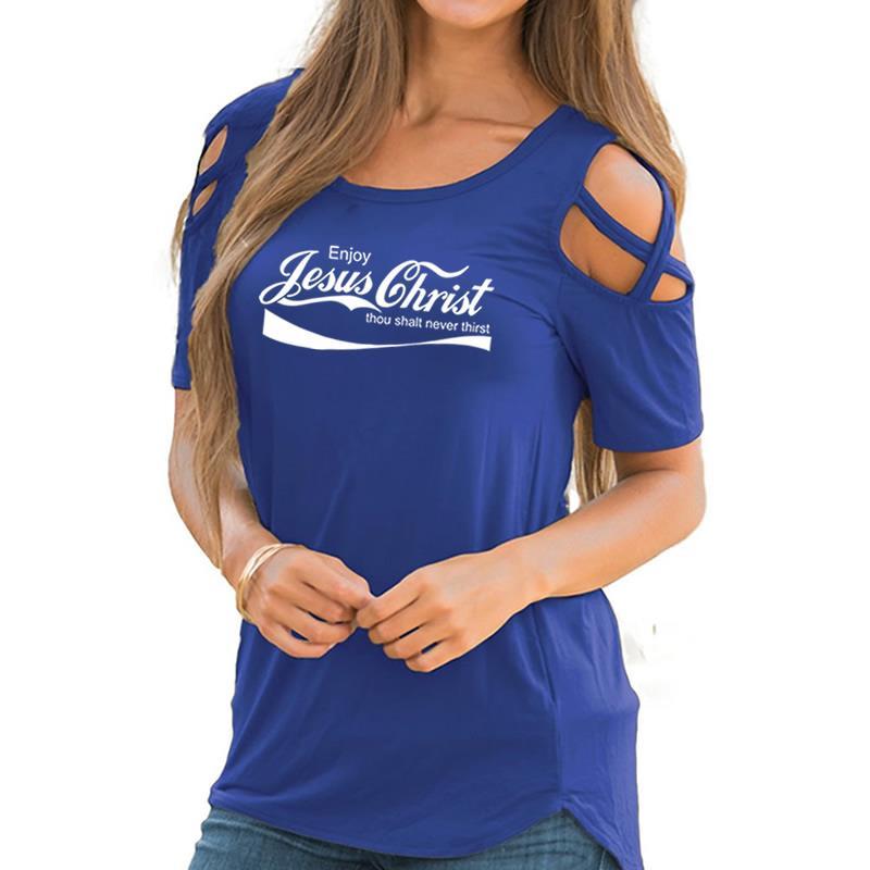 2018 di Nuovo Modo di Godere di Gesù Ghrist Tu Sarai Mai Sete Camicia di Stampa Off Spalla Manica Corta T-Shirt Femminile Magliette e camicette per donna