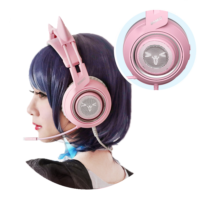 Image 2 - SOMIC G951 Pink Cat Ear Headphones Virtual 7.1 Noise Cancelling Gaming Headphone Vibration LED USB Headset Girl Headsets for PC-in Headphone/Headset from Consumer Electronics