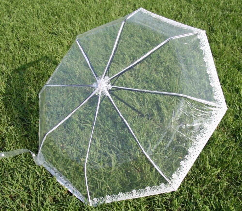 Transparenter Kunststoff PVC Spitze drei Taschenschirm sonnig - Haushaltswaren - Foto 1