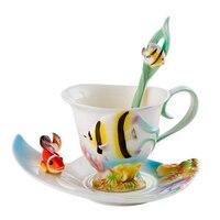 친구 축복 커피 컵 세트 세라믹 뼈 중국 차 컵 창조적 영어 오후 차