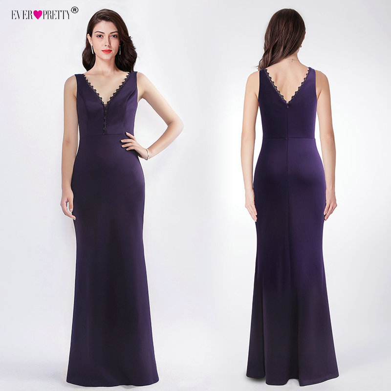 Dark Purple Bridesmaid Dresses V-Neck Long Mermaid Dress For Wedding Party Cheap Sleeveless Vestido De Festa Longo Ever Pretty