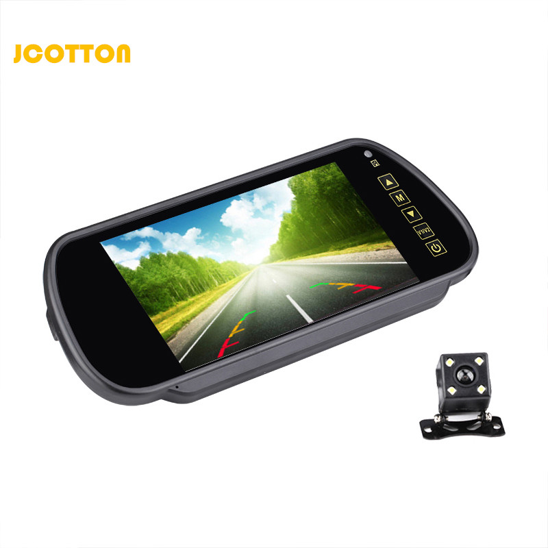 JCOTTON 7 Inches TFT LCD Display Rear View Car Monitor With Rear View Camera for Car 4LED Night Vision Monitor Camera Waterproof 4 3 inch display tft color lcd monitor cctv camera monitor 2 av input 1 way for rear view