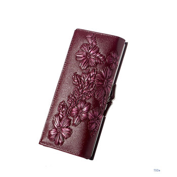 Floral Embossed Long Wallet Bags and Wallets Best Seller Hot Promotions Women's Wallets Color: 752d