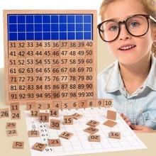 Детские развивающие деревянные игрушки Монтессори 1-100 цифра Когнитивная математическая игрушка 99 Таблица размножения 10*10 фигурные блоки подарки