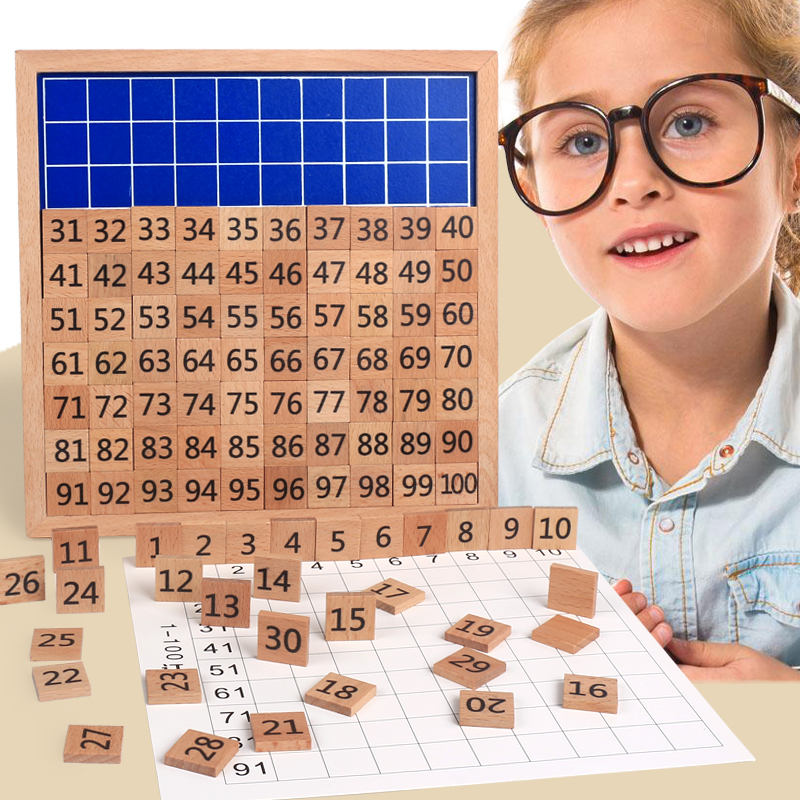 Baby Montessori Education Wooden Toys 1-100 Digit Cognitive Math Toy 99 Multiplication Table 10*10 Figure Blocks gifts