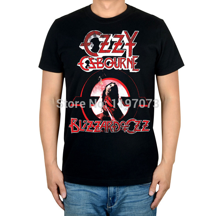 Free shipping Ozzy Osbourne Blizzard Of Ozz cover heavy metal blues mens top black cotton T-shirt