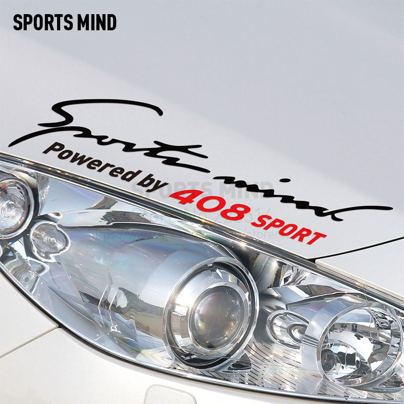 2 Pieces Sports Mind Car-Styling On Car Lamp Eyebrow automobiles Car Sticker Decal For Peugeot 408 car accessories