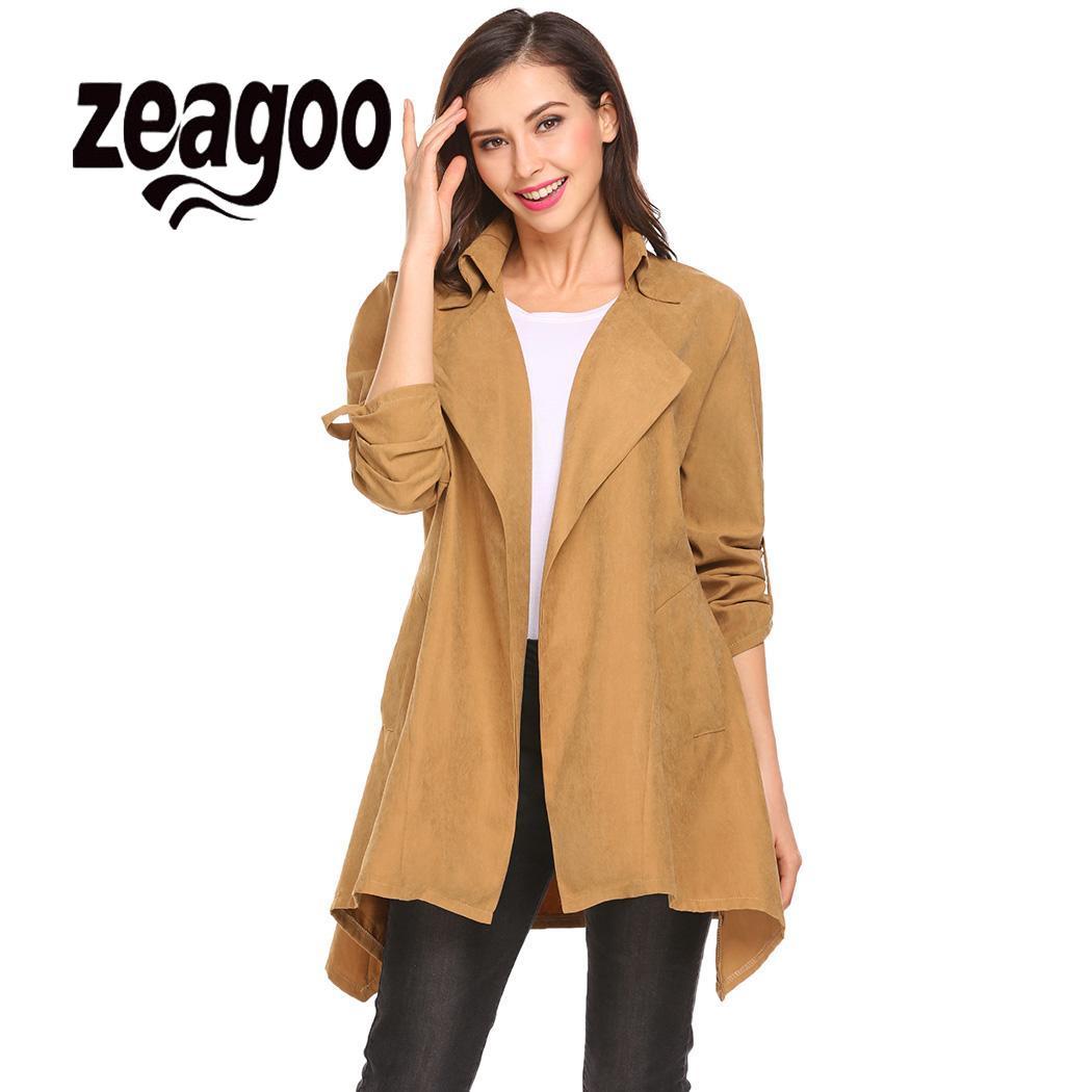 zeagoo woman Fashion Women's Slim Outwearcoats 2018 winter Long Coat   Trench   Windbreaker Outwear Windbreaker Cardigan Overcoat