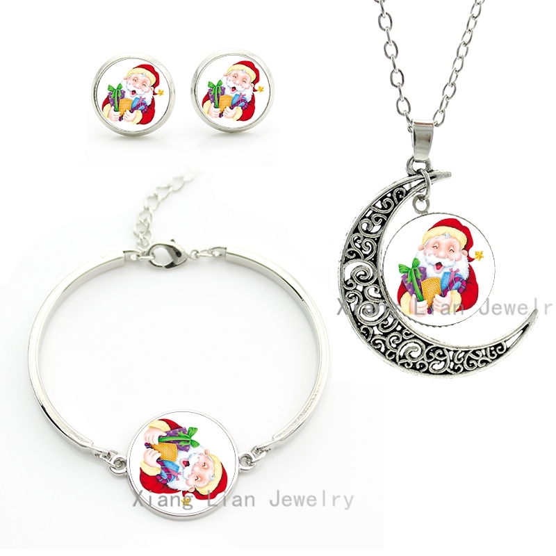 Cartoon cute style Father Christmas Holding ifts art pture necklace bracelet stud earrings set women Santa jewelry sets CM136