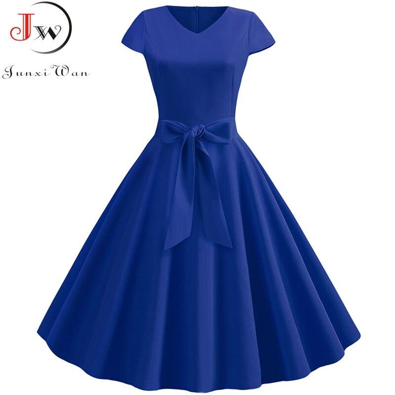 Women Summer Vintage Dress With Belt Short Sleeve V Neck Elegant Retro Robe Rockabilly Swing Pinup Party Office Dresses Vestidos