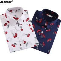 Casual Cherry Shirt 2017 Cute Blouses For Women Turn Down Collar Long Sleeve Top White Plus