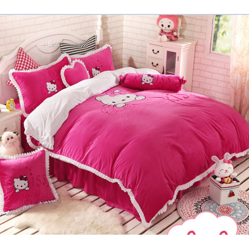 4 Pieces Hello Kitty Cotton bedding set Children 100% pure cotton and Crystal velvet Bed suite bed linen bed clothes