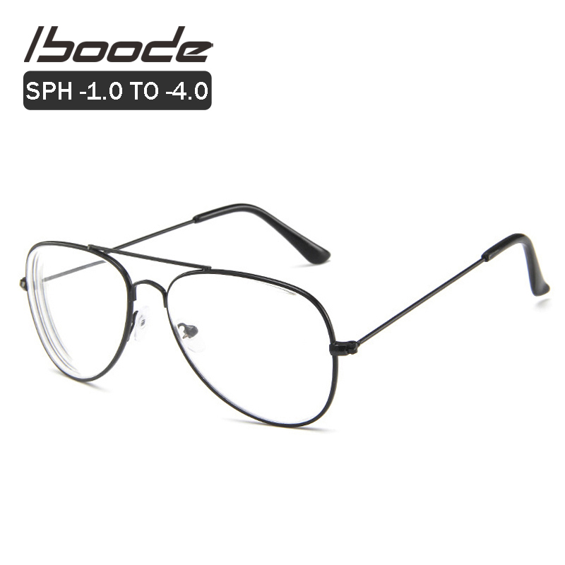 Iboode Women Men Myopia Optical Prescription Glasses Pilot Eyeglasses Frame Nearsighted Shortsight Goggles Diopter -1.0 To -4.0