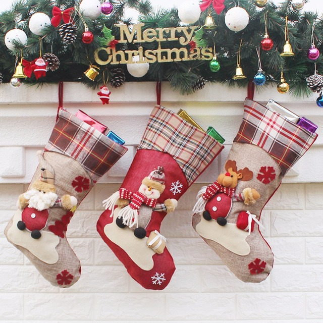 Embroidered Christmas Stockings.Us 4 24 15 Off Christmas Xmas Embroidered Christmas Stocking Sock Gift Candy Hanging Bag Santa Claus Snowman Hotel Home Decoration In Stockings
