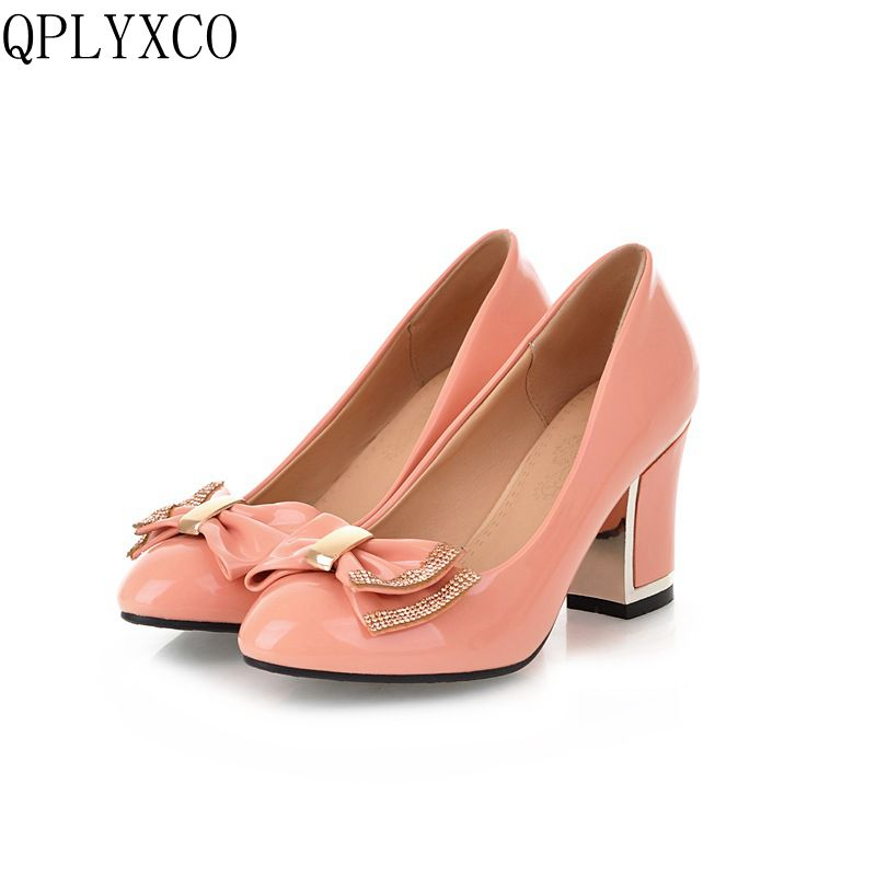 QPLYXCO 2017 New Super big and small size 33-45 Patent Leather Pumps shoes Women Pointed Toe fashion Sweet party shoes t510 spring and summer women shoes pointed toe bow flat shoes patent leather pregnant shoes fashion female small big size
