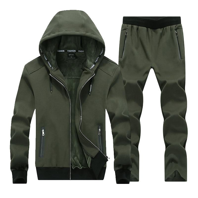 Autumn And Winter Men's Plus Velvet Thickening Suit Hooded Fleece Large Size Suit Jacket Men's Youth Suit 4XL 5XL 6XL 7XL 8XL