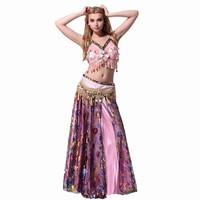 Belly Indian Dance Suit Sequin Bling Beads Tassels Flower Costume Bra Top Skirt Belt Hip Scarf Chain One Set 11Colors A401