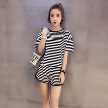 Women Tracksuits Two Piece Set Summer Striped Short Sleeves T Shirt Tops+Shorts Korean Casual Sportwear Suit