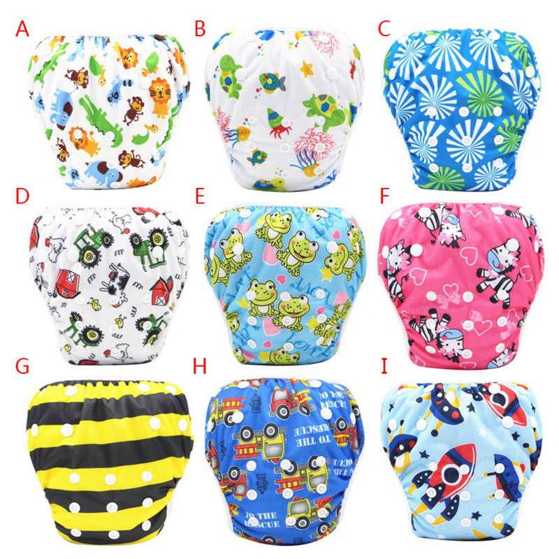 Unisex One Size Waterproof Adjustable Swim Diaper Pool Pant 10-40 lbs Swim Diaper Baby Reusable Washable Pool Cover 9 Color