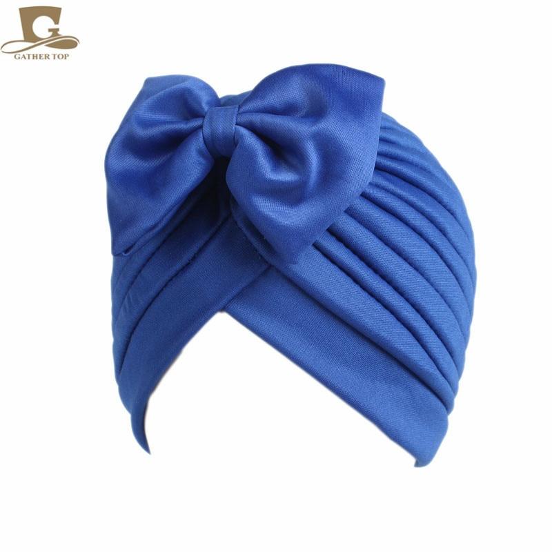 2017 Nieuwe mode vrouwen boog strik ruche tulband vrouwen haar cap - Kledingaccessoires - Foto 2