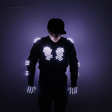 Fashion LED Armor Light Up Jackets Costume Glove Glasses Led Outfit Clothes Suit for Robot Suits Illuminate Christmas