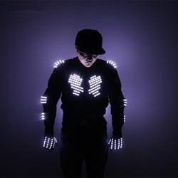 Mode LED Armor Licht Up Jassen Kostuum Handschoen Bril Led Outfit Kleding Led Pak voor LED Robot Suits Verlichten Kerst