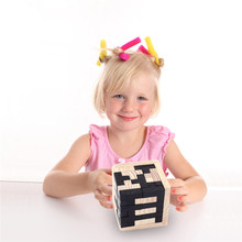 Cute Brain-Teasing Cube Shaped Wooden Montessori 3D Puzzle