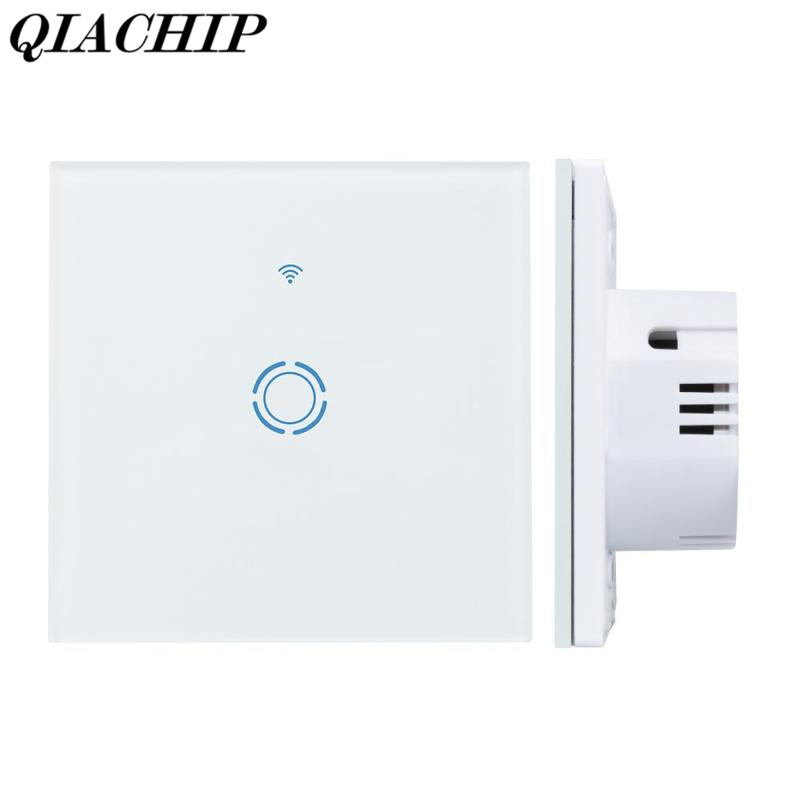 QIACHIP 1 Gang WiFi Smart Switch Amazon Alexa Google Home Function Waterproof Touch Panel w/ APP Remote Control  EU Plug smart home eu touch switch wireless remote control wall touch switch 3 gang 1 way white crystal glass panel waterproof power