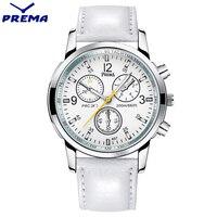 New 2016 PREMA Luxury Brand Quartz Watch Casual Fashion White Leather Watches Reloj Masculino Men Women