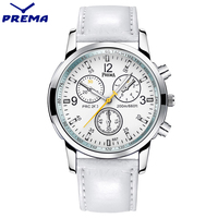 New 2016 PREMA Luxury Brand Quartz Watch Casual Fashion White Leather Watches Reloj Masculino Men Women