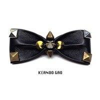 Free shipping new men's male fashion Original DIY entertainment birthday gifts punk rivets handmade bow tie black personality
