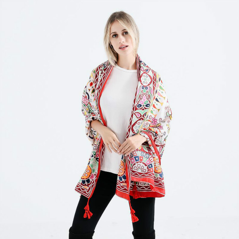 2018 Hot Selling Oversized Geometric Pattern Print Shawls Scarf Women Pashmina Stoles Soft Cotton Linen Winter Scarves Wraps